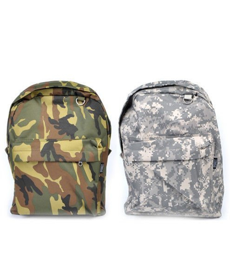Camouflage Print Backpack School Bag Army Military Themed Padded Shoulder Straps