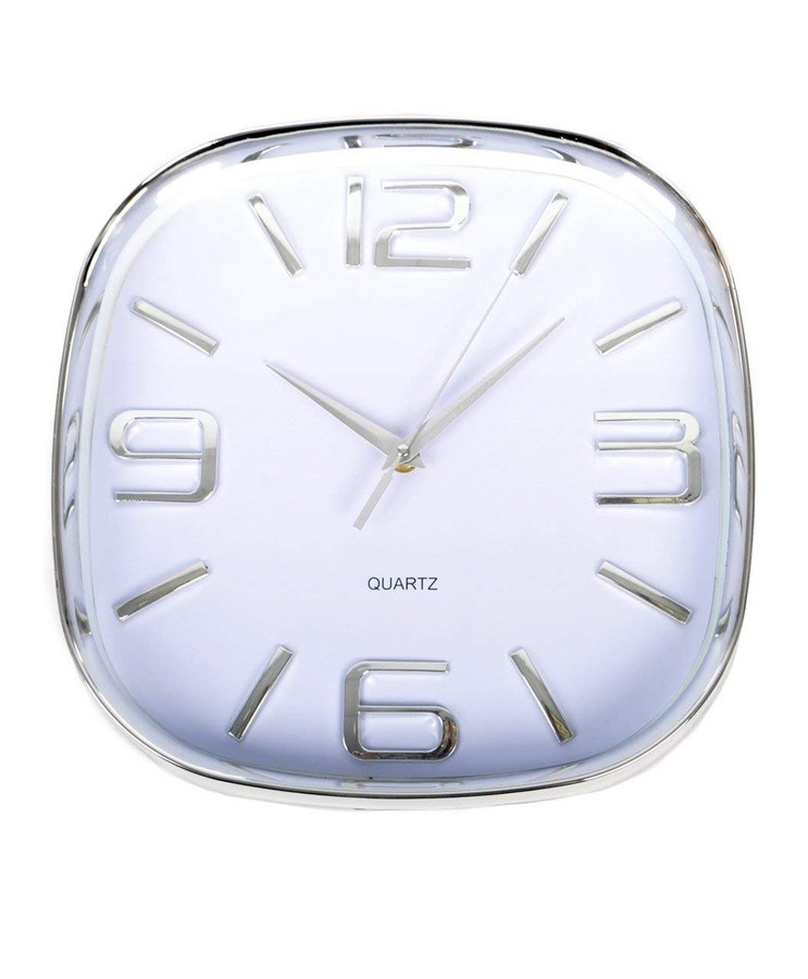 Silver & White Round Square Wall Clock