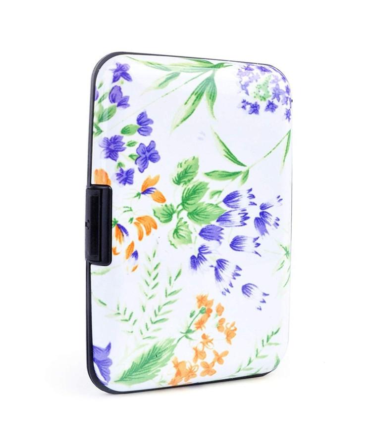 White Garden Flowers Card Case Holder