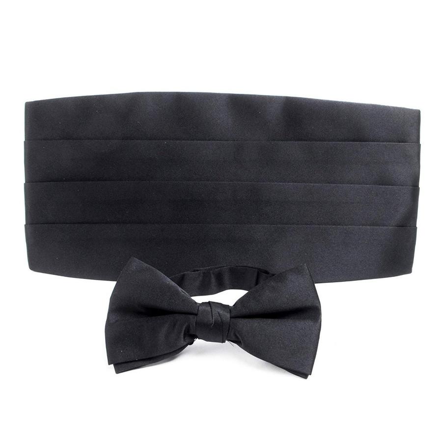 Adult Solid Poly Satin - Bow Tie and Cummerbund Sets