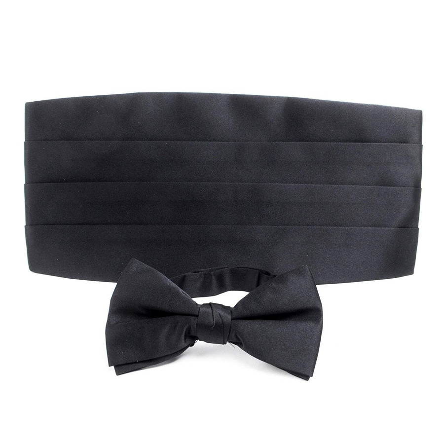 Adult Solid Poly Satin - Bow Tie and Cummerbund Sets