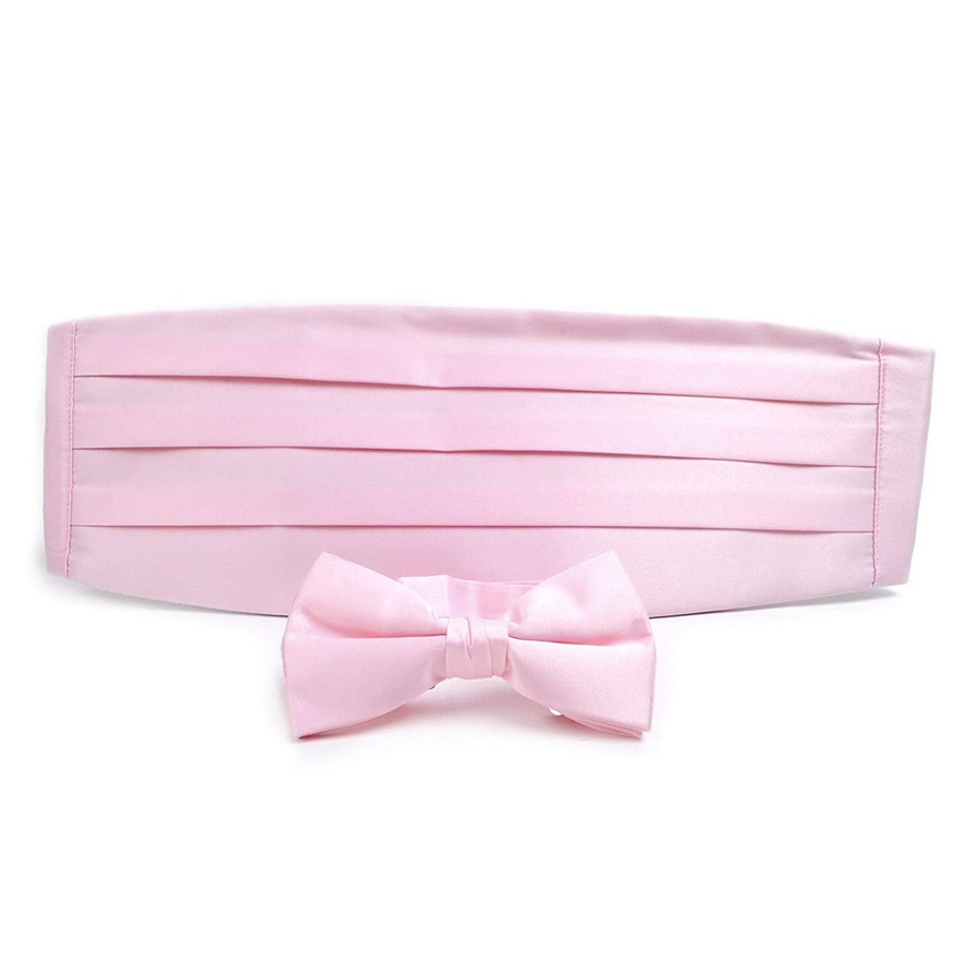 Adult Solid Poly Satin - Bow Tie and Cummerbund Sets , Pink