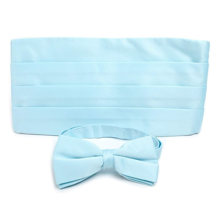 Adult Solid Poly Satin - Bow Tie and Cummerbund Sets , Light Blue by Umo Lorenzo