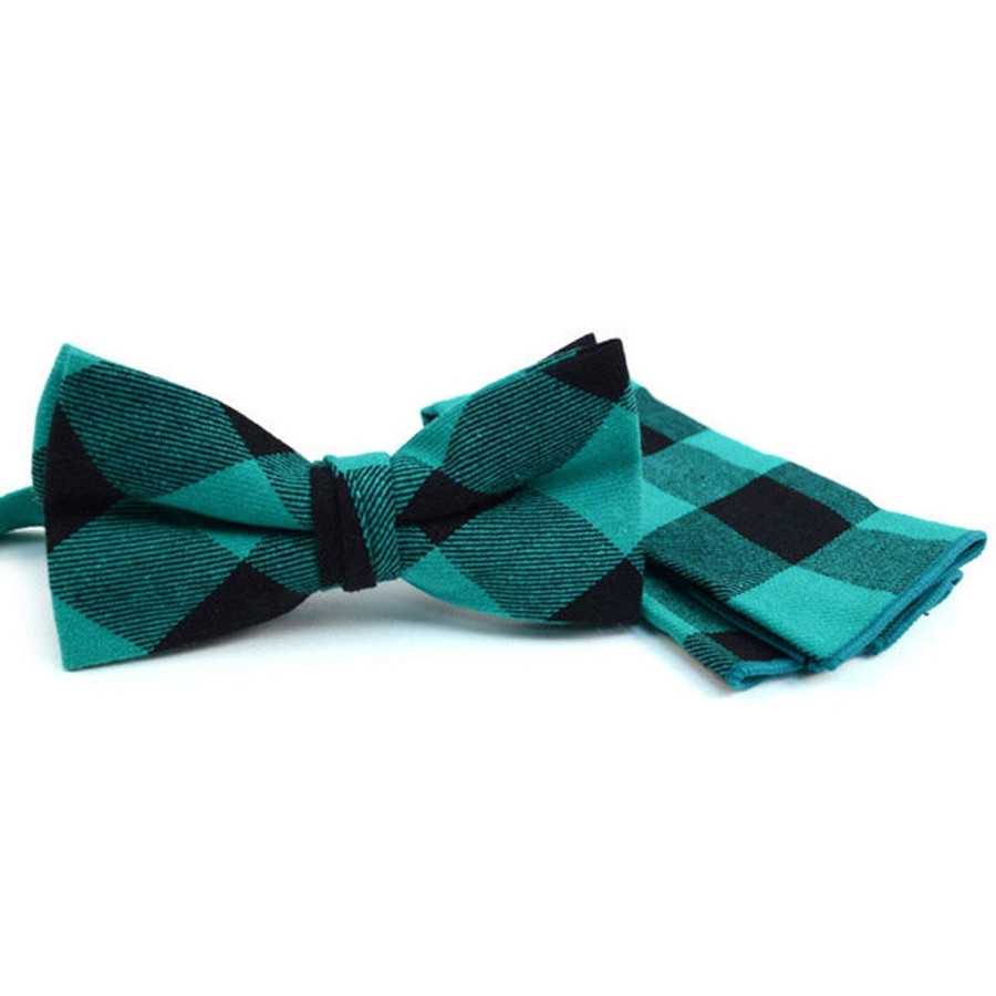 Men's Green Plaid Cotton Bow Tie & Matching Pocket Square