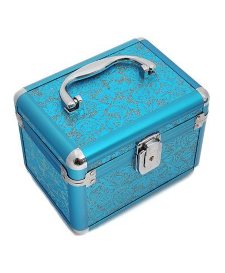 BG Rose Print Weekend Cosmetic Case -Turquoise (Small)