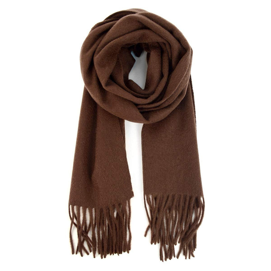 100% Cashmere Soft Unisex Solid Color Scarf with Tassels Winter Luxury, CHOCOLATE BROWN