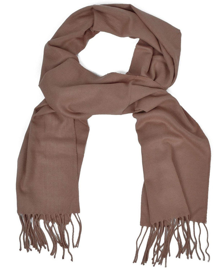 Cashmere-Feel Acrylic Fringed Solid Color Scarf (Brown)