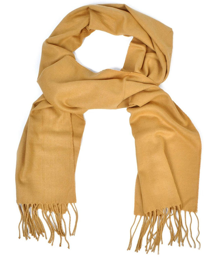 Cashmere-Feel Acrylic Fringed Solid Color Scarf, Tan