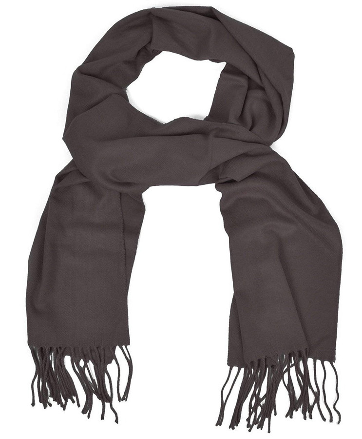 Cashmere-Feel Acrylic Fringed Solid Color Scarf (Black)