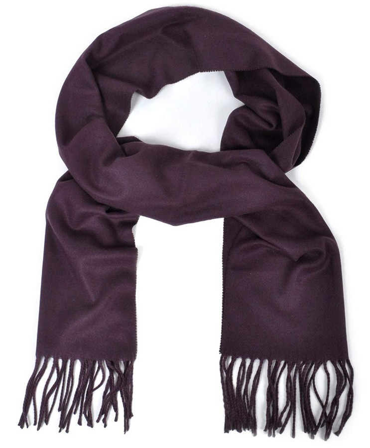 Cashmere-Feel Acrylic Fringed Solid Color Scarf, Purple