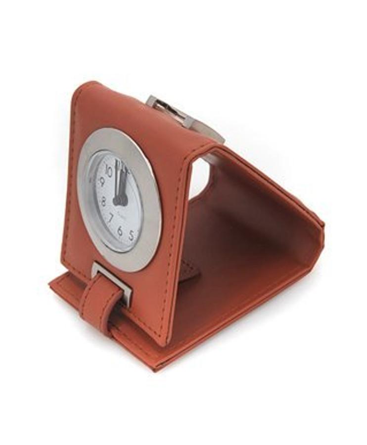 Leather Easel Travel Alarm Clock, Light Brown