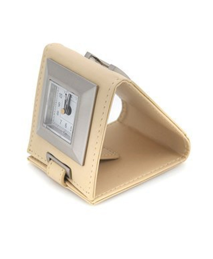 Leather Easel Travel Alarm Clock, Beige