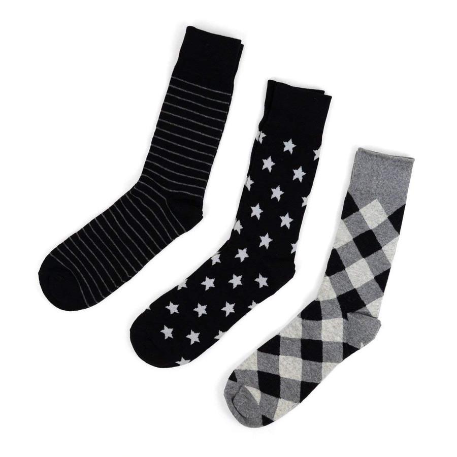 Men's Fancy Gray Multi Design Dress Socks Gift Set 3 Pairs