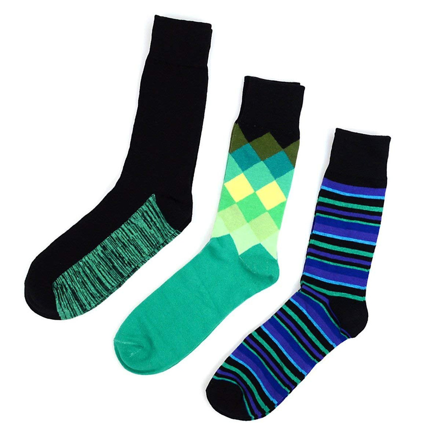 Men's Fancy Green Funky Dress Sock Gift Box Set 3 Pairs