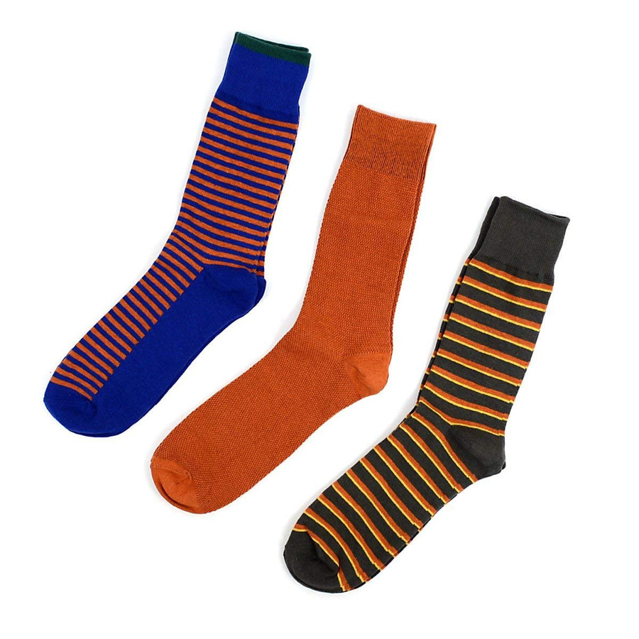 Men's Orange Multi Color Design Gift Box Set 3 Pairs