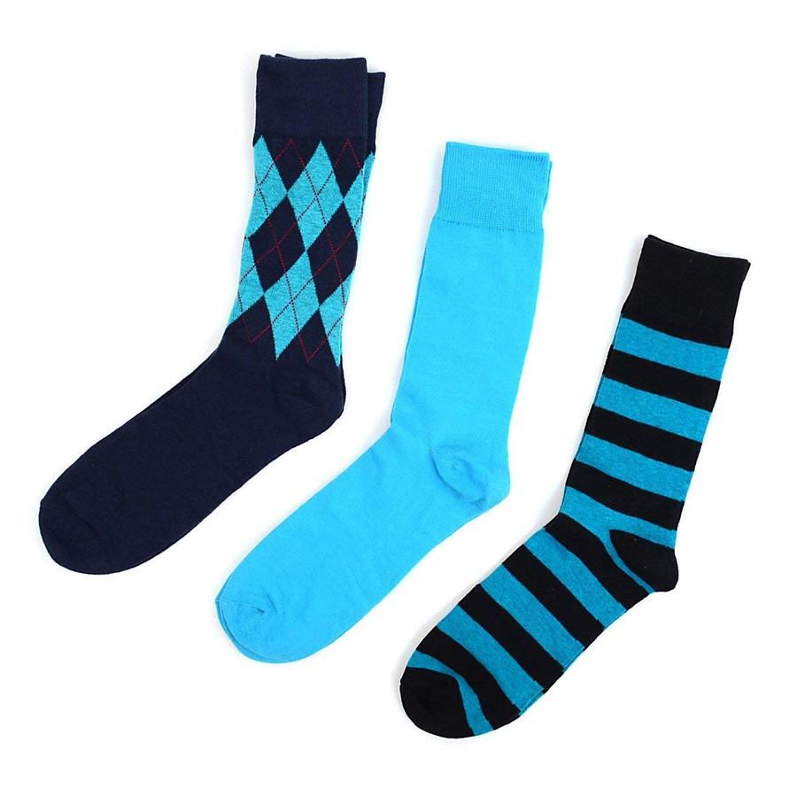 Men's Blue Fancy Multi Design Dress Socks Gifts Set 3 Pairs