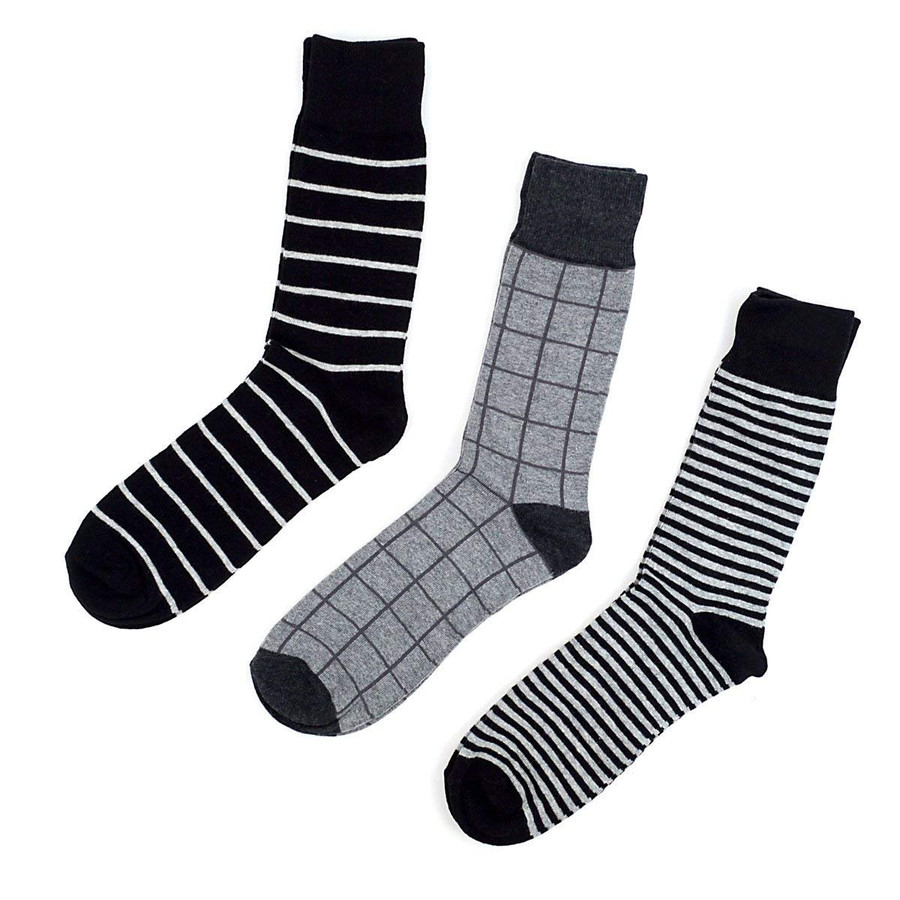 Men's Fancy Grey Striped Dress Socks Gift Set 3 Pairs