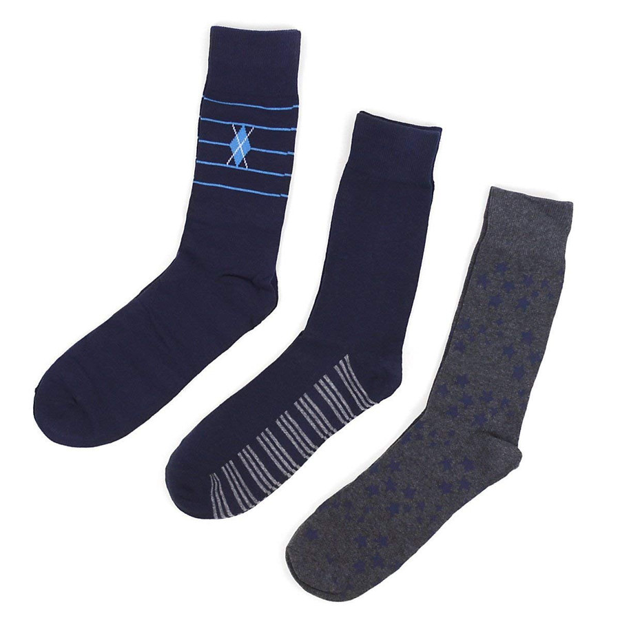 Men's Multi Color & Design Dress Sock Gift Set 3 Pairs