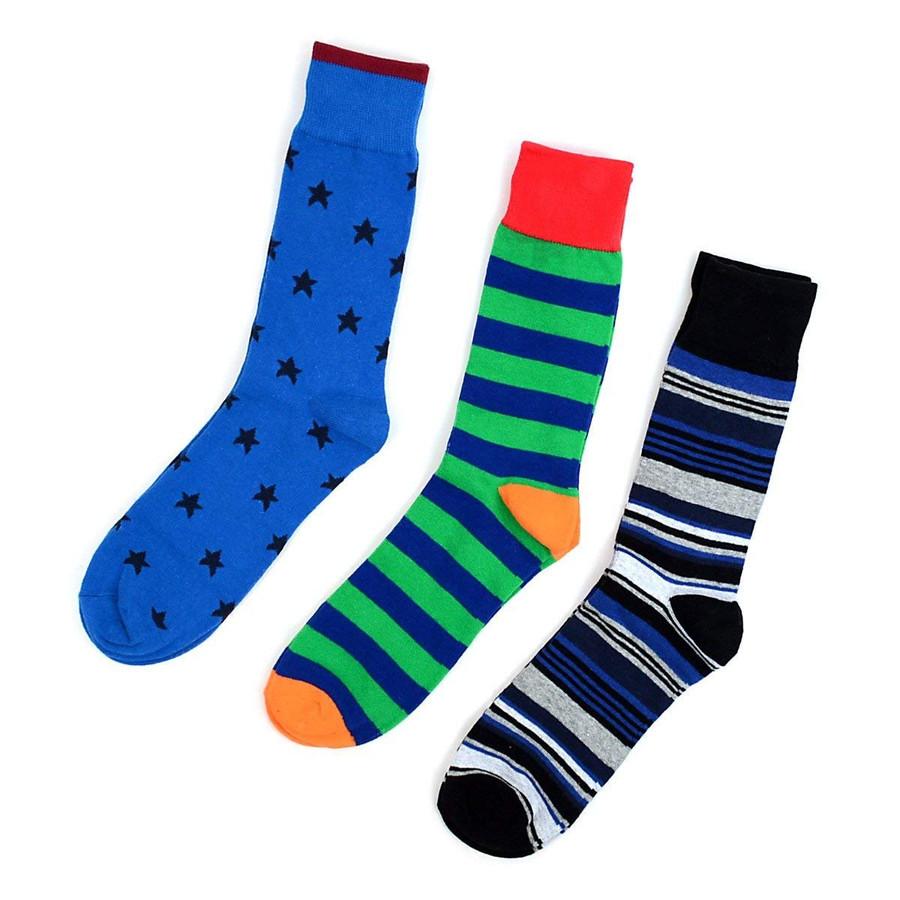 Men's Blue Multi Design Dress Socks Gift Box Set 3 Pairs