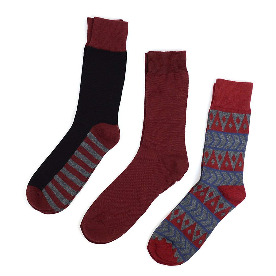 Men's Gray & Red Multi Design Gift Box Set 3 Pairs