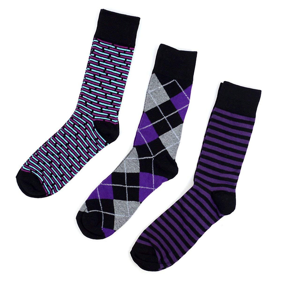 Men's Purple Multi Design Fancy Dress Socks