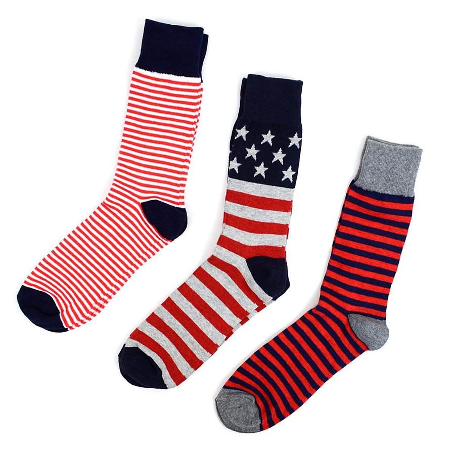 Men's Fourth of July Fancy Dress Socks Gifts Set