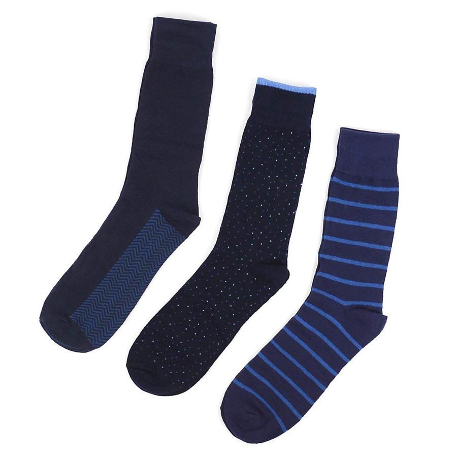 Men's Navy Blue Multi Design Fancy Dress Socks Gift Set 3 Pairs