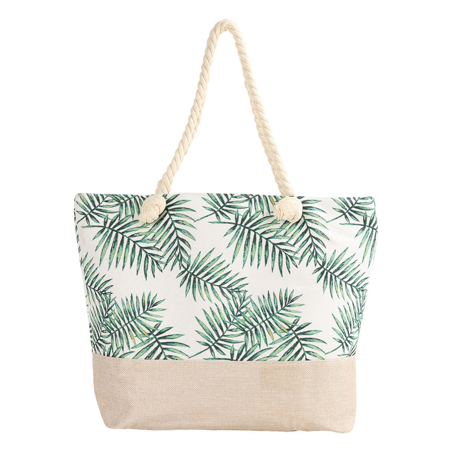 Women's Summer Tote Bag, Large Shoulder Bag + Great for Beaches, Boardwalks & Vacation Fun! (Palm Leaves)