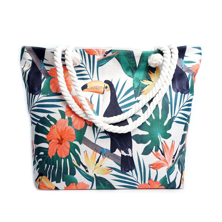 Palm Tree & Birds Summer Ladies Tote Bag
