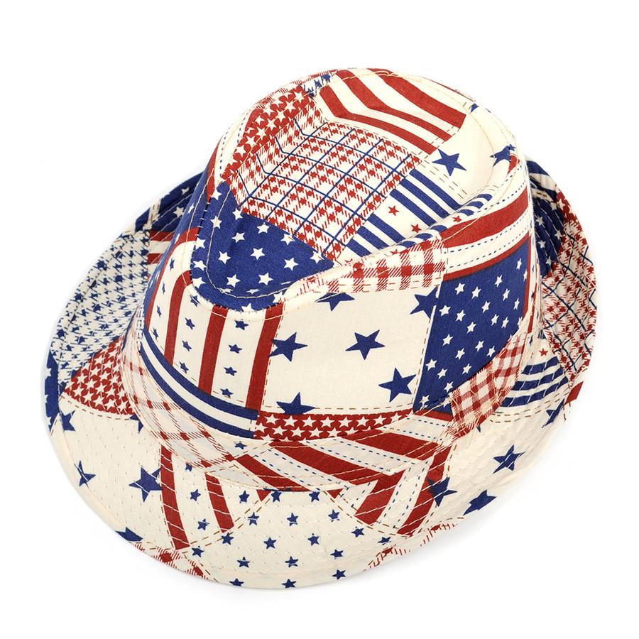 WESTEND Unisex 4th of July Fedora (USA Pattern)