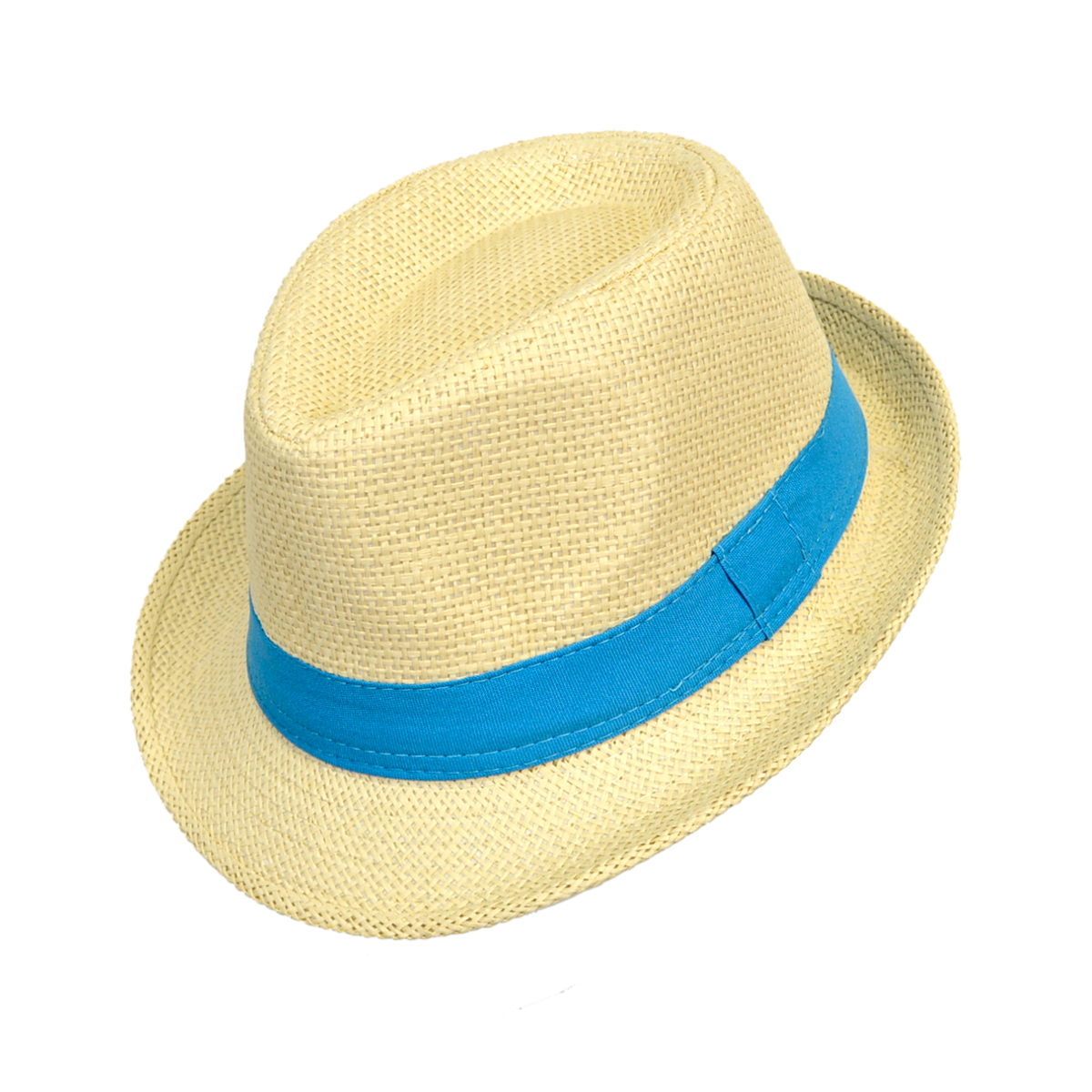 61ad085e7ea 6pc Boy s Spring Summer Light Tan Straw Fedora Hats with Blue Band