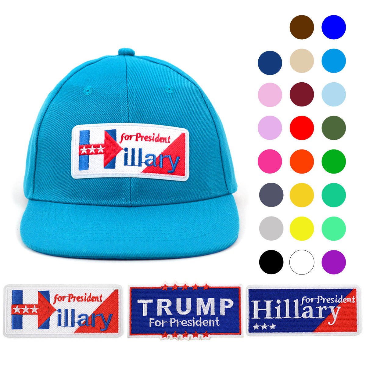 0d9bf6b2 2016 Hillary, Trump Promotional Solid Blank Embroidery Patch Baseball Cap,  Hat
