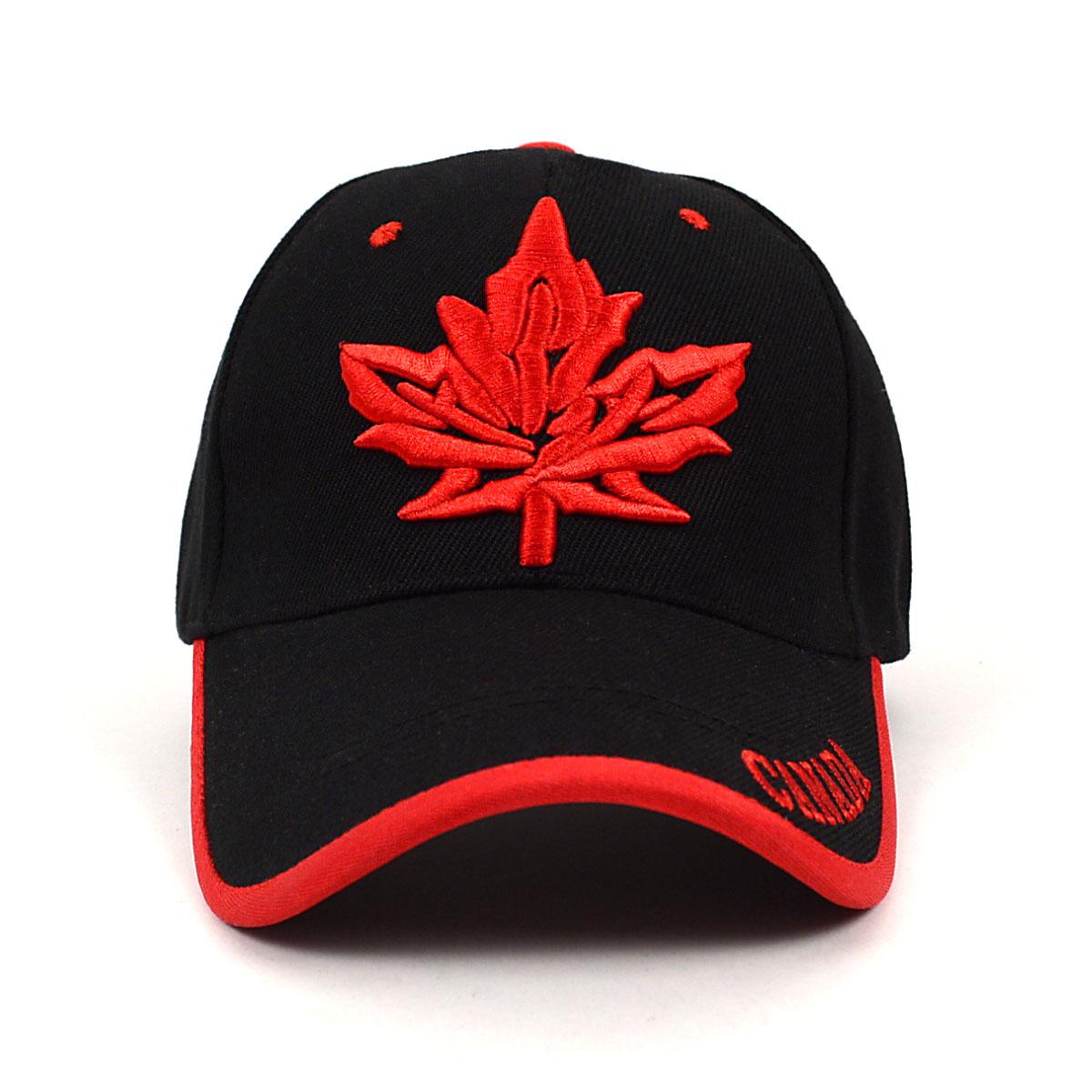 b5de0825bdccf Canada Leaf Black   Red 3D Embroidered Baseball Cap
