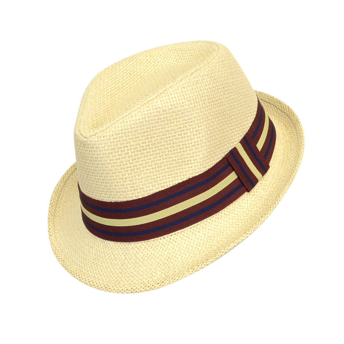 43a8c8fa 6pc Boy's Spring/Summer Cream Straw Fedora Hats with Burgundy/Navy Striped  Band
