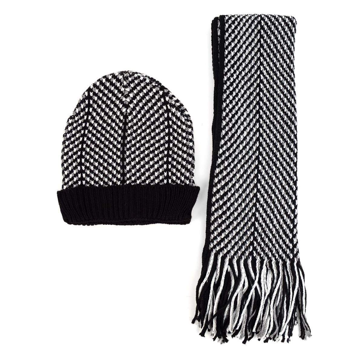 Men s Winter Knit Scarf and Beanie Hat Set Black and White Fashionable    Warm 6d52356f591a