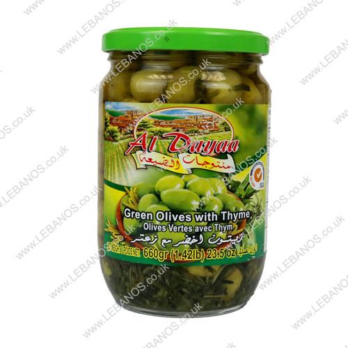 Green Olives with Thyme - Al Dayaa - 12 x 660g