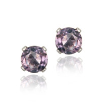 14k White Gold 4/5ct Amethyst Stud Earrings, 5mm