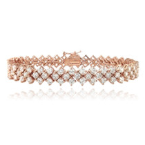 Rose Gold Plated 13ct Cubic Zirconia Chevron Tennis Bracelet