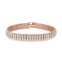 18k Rose Gold 3ct Cubic Zirconia Two-row Bracelet