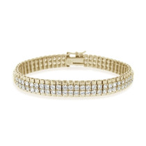18k Gold 3ct Cubic Zirconia Two-row Bracelet