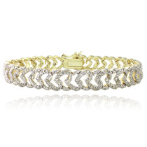 Gold Tone 1 Ct Diamond Heart Link Bracelet