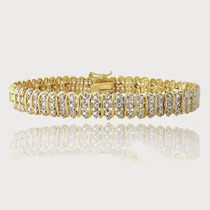 Gold Tone 1 Ct Tdw Diamond S Pattern Tennis Bracelet