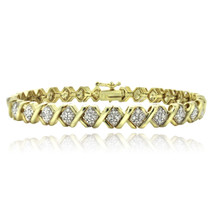 1 Ct Tdw Diamond Gold Tone X Tennis Bracelet