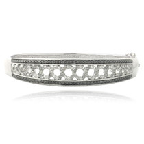 1/2ct Black & White Diamond Circle Bangle Bracelet