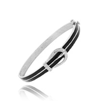 Rhodium Plated Diamond Accent & Black Enamel Belt Buckle Bangle Bracelet