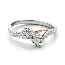 Two Stone Diamond Ring With Curved Band In 14k White And Rose Gold (5/8 Cttw) - 43684228