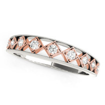 14k White Gold And Rose Gold Unique Diamond Wedding Band (1/10 Cttw) - 43683026
