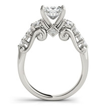14k White Gold 3 Stone Antique Design Diamond Engagement Ring (1 3/4 Cttw) - 43683885