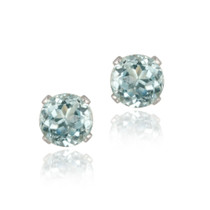 14k White Gold 1.1ct Blue Topaz Stud Earrings, 5mm