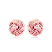 14k Rose Gold Love Knot With Ridge Texture Earrings